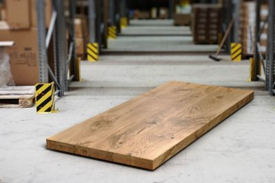 Eichen Tischplatte nach Maß 8cm Double-Up mit Astanteil