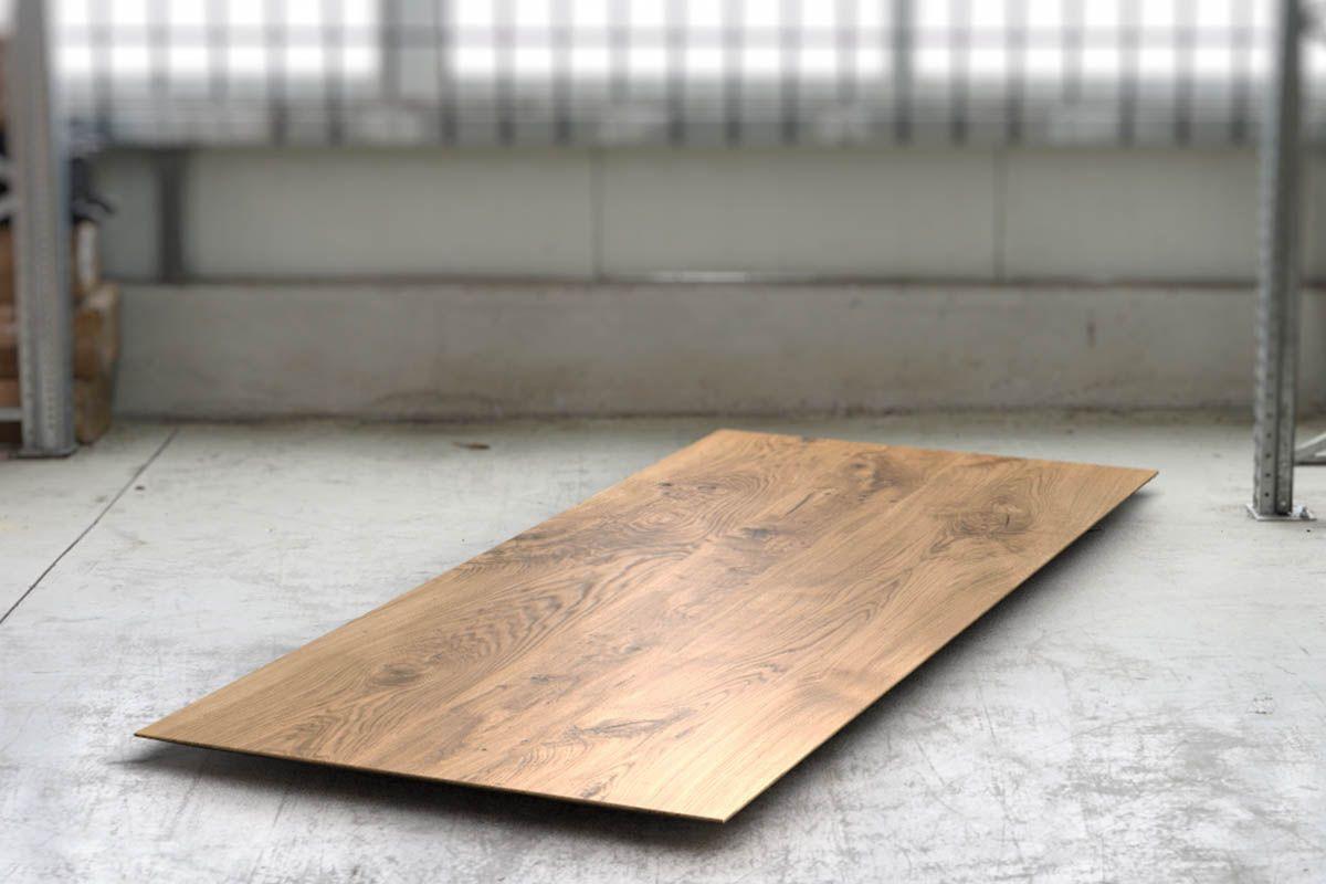 Massivholz Tischplatte Eiche Ast 4cm mit Facettenkante nach Maß