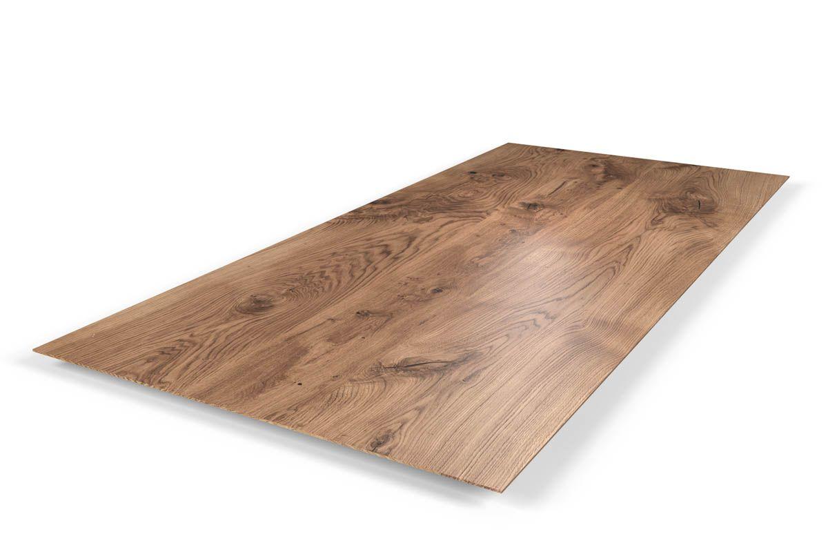 Massivholz tischplatte eiche mit facettenkante holzpiloten for Massivholz tischplatte