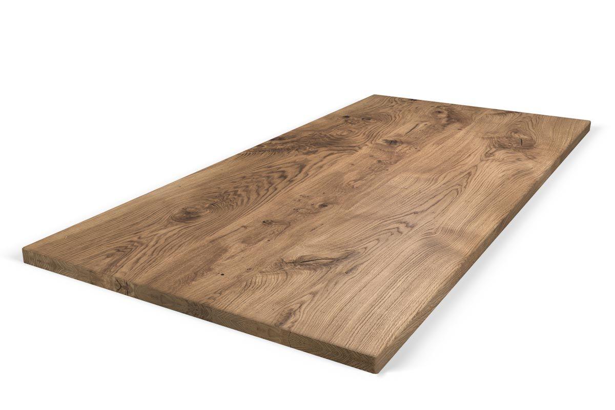 Aufgedoppelte Tischplatte Eiche nach Maß