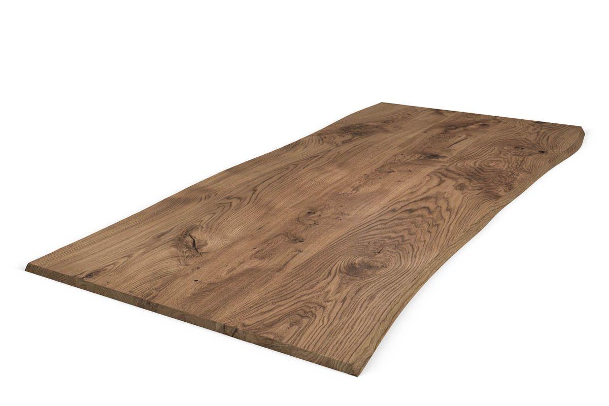 Massive Tischplatte Eiche Baumkante nach Maß