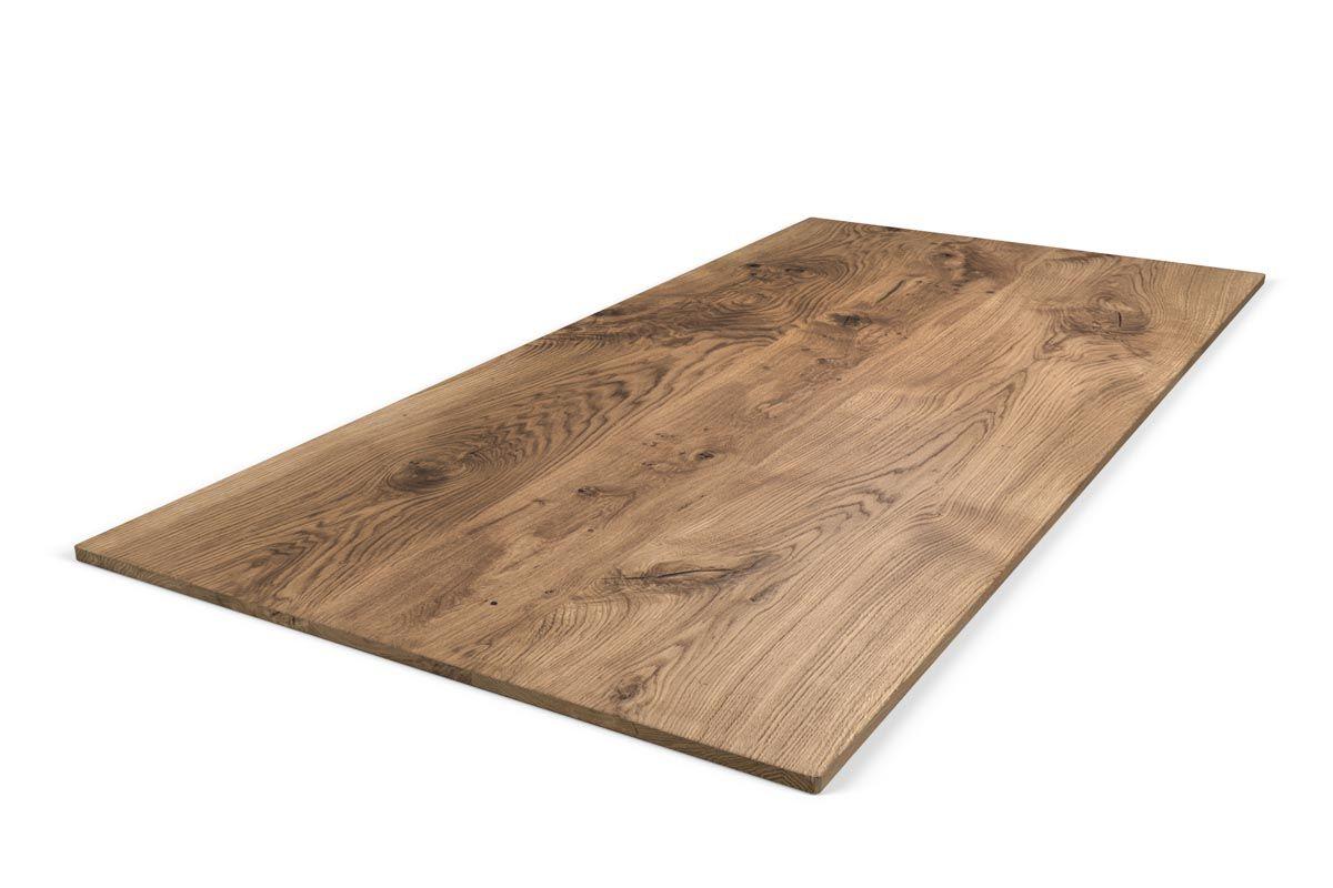 Tischplatte Eichenholz massiv 2cm Ast