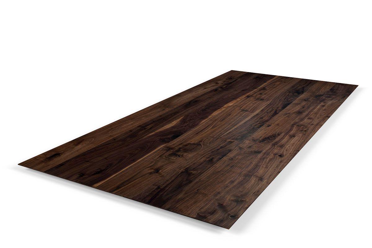 Naturholz Tischplatte Nussbaum schweizer Kante