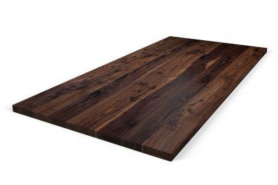 Aufgedoppelte Nussbaumtischplatte 6cm Ast auf Maß