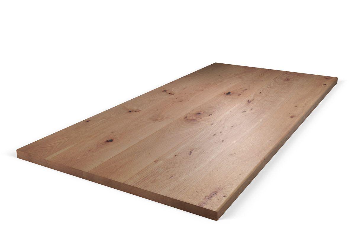 Aufgedoppelte Echtholz Tischplatte aus Buche mit charakterstarkem Ast - und Splintholzanteil