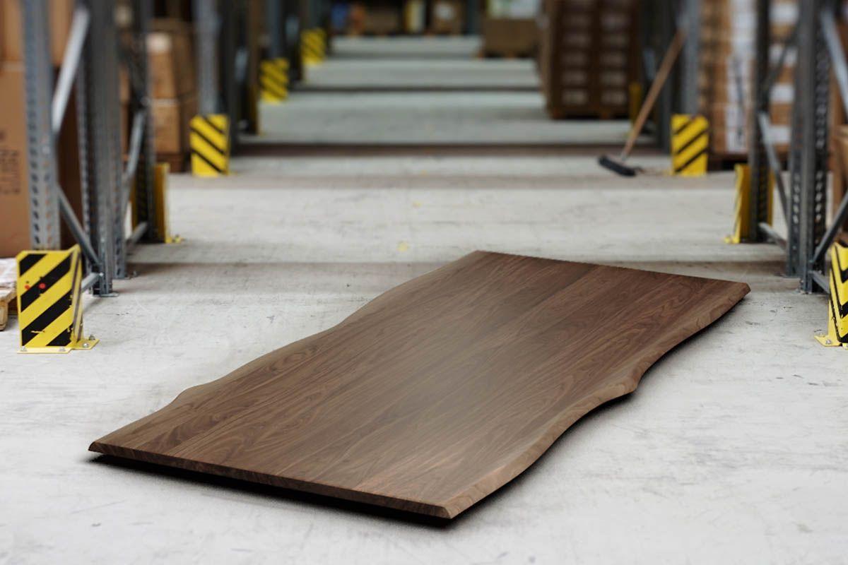 Nussbaum Baumkanten Tischplatte nach Maß 3cm astfrei
