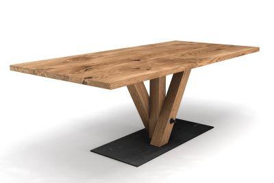 Massiver Tisch Eiche mit Mittelfuß in Fächerform