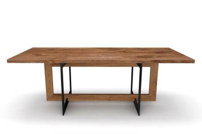 Echtholz Esstisch Eiche mit Kombi-Gestell in Holz und Stahl