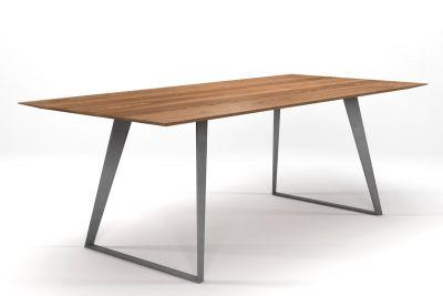 Esstisch Design in massiver Eiche und Facetten-Tischplatte