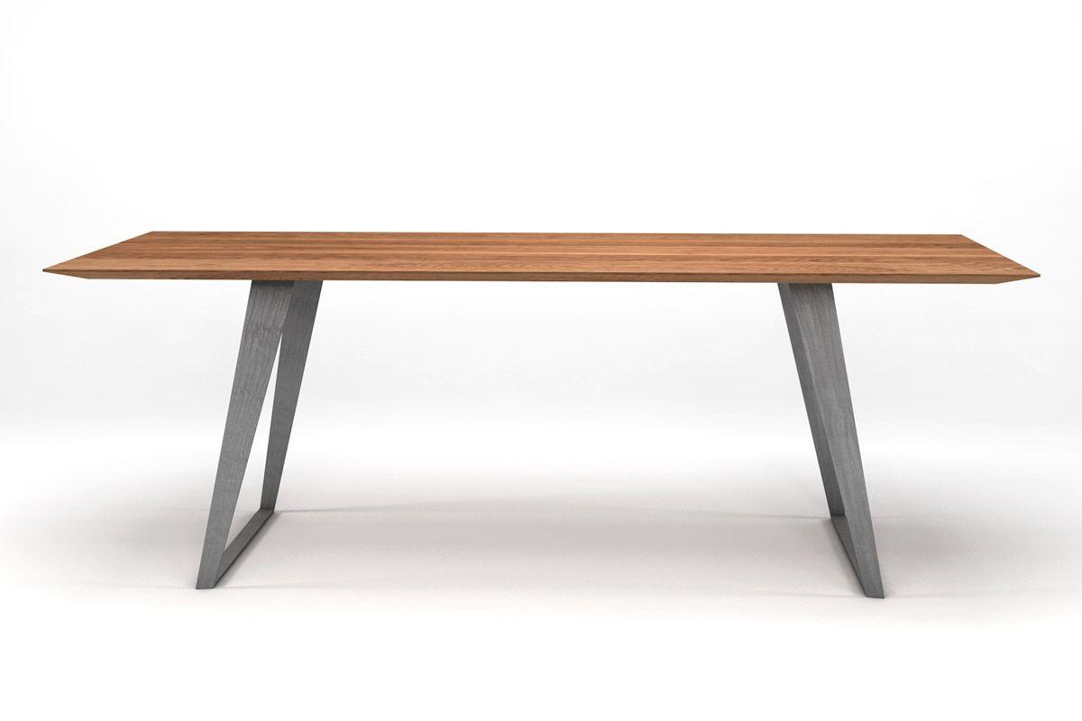 Künstlerisch Esstisch Massiv Eiche Sammlung Von Moderner Design Schweizer Kante Und Stahlkufen