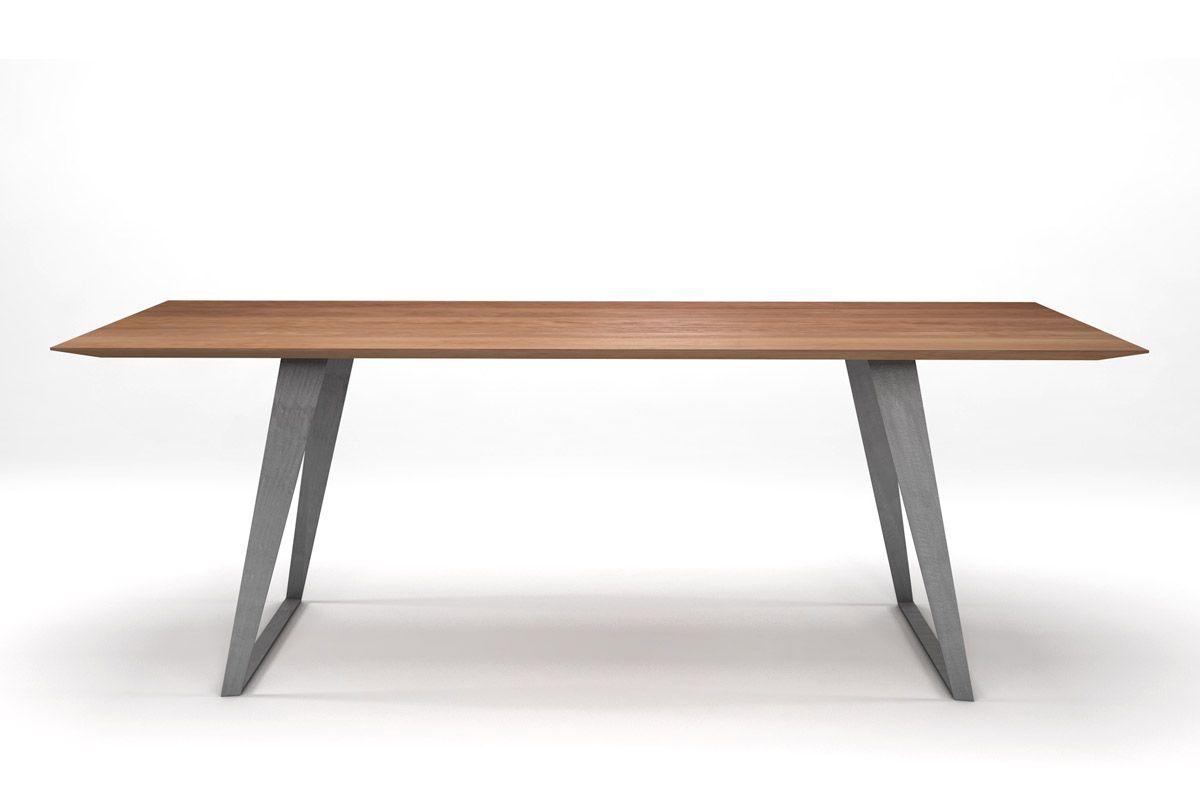 ma tisch buche modern mit stahlkufen holzpiloten. Black Bedroom Furniture Sets. Home Design Ideas