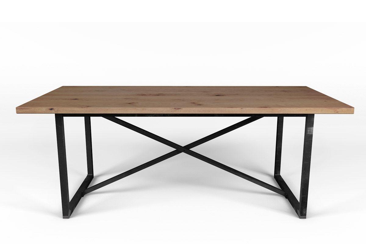 esstisch auf ma buche mit stahlrahmen gestell holzpiloten. Black Bedroom Furniture Sets. Home Design Ideas