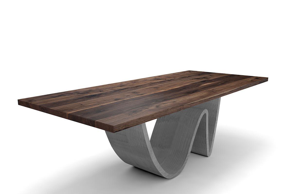 esstisch amerikanischer nussbaum mit wave stahlgestell holzpiloten. Black Bedroom Furniture Sets. Home Design Ideas