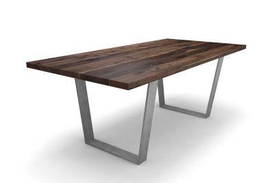 Kufentisch Nussbaum nach Maß mit Stahlkufen