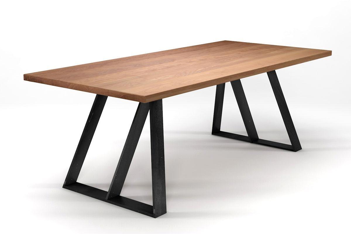 Tisch Massivholz Buche mit Stahlkufen Gestell