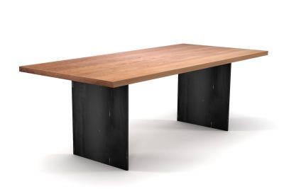 Tisch Buchenholz nach Maß mit Wangen aus Eisen