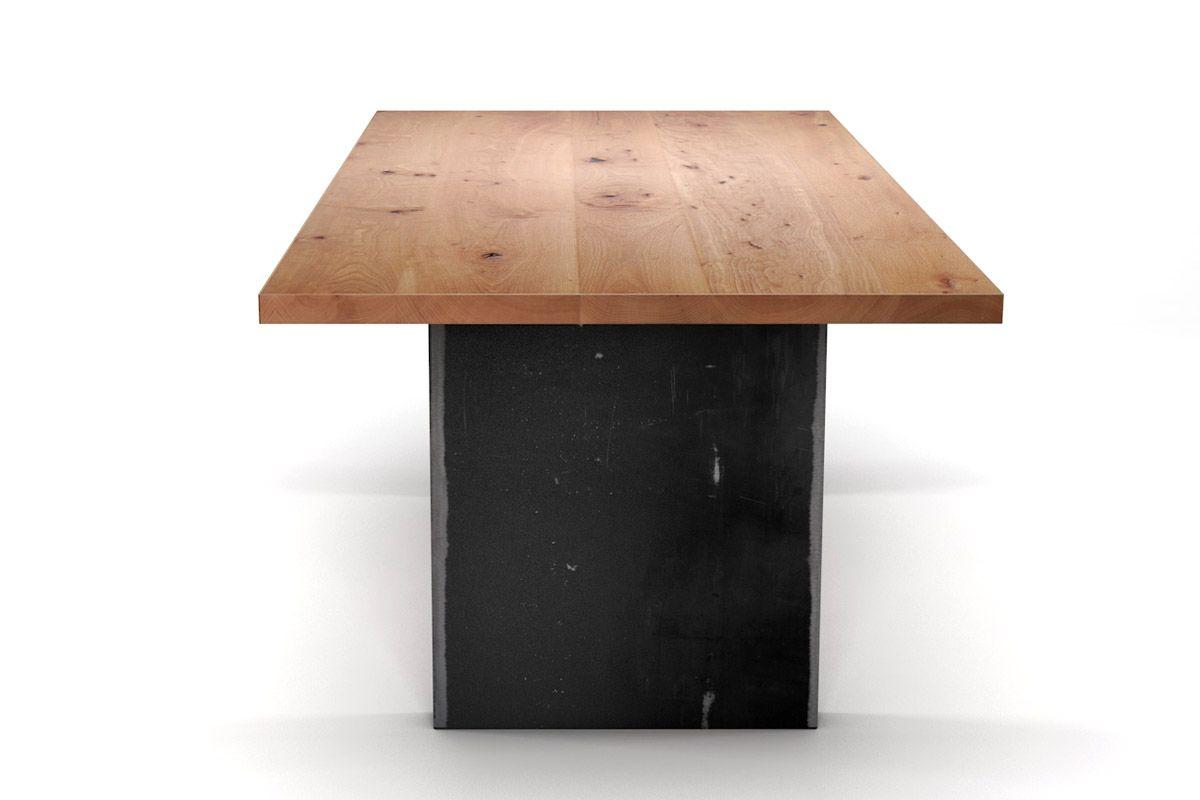 buchetisch einzigartig mit stahlwangen holzpiloten. Black Bedroom Furniture Sets. Home Design Ideas