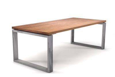 Esstisch in Buche massiv mit Metall Tischkufen