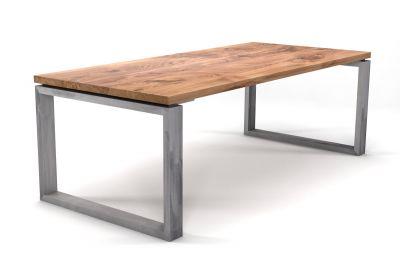 Massiver Eiche Tisch mit Stahlkufen