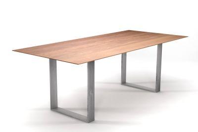 Esstisch modern mit Stahlkufen Buche mit Schweizer Kante