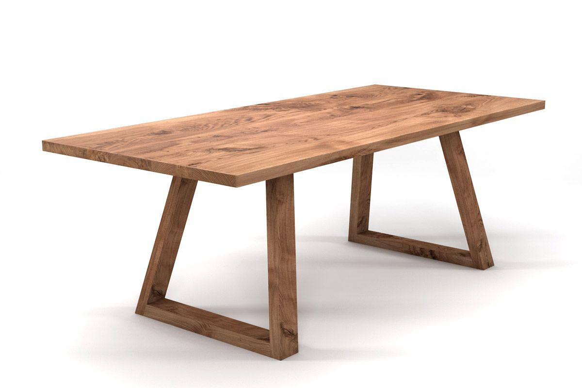 Massivholztisch Eiche nach Maß mit Tischuntergestell in Holz