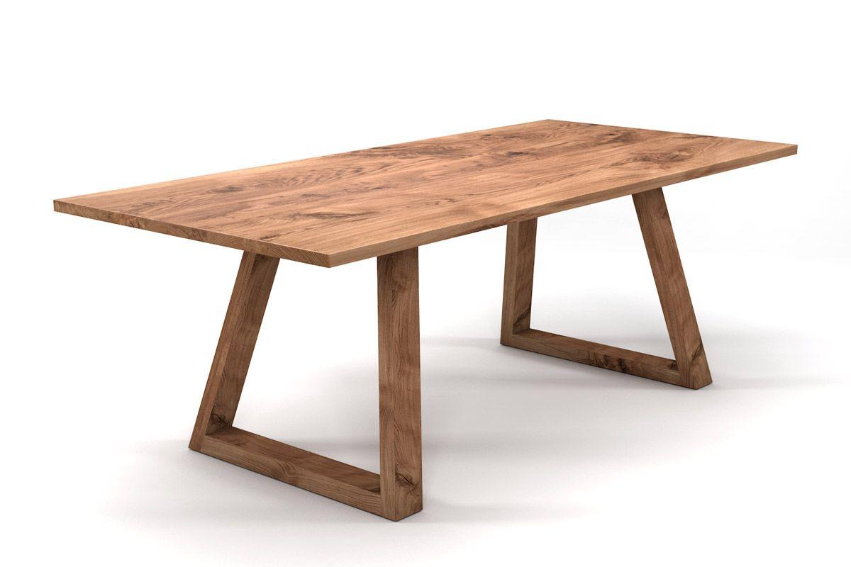 Esstisch Eiche nach Maß mit schrägen Holzkufen Tischgestell