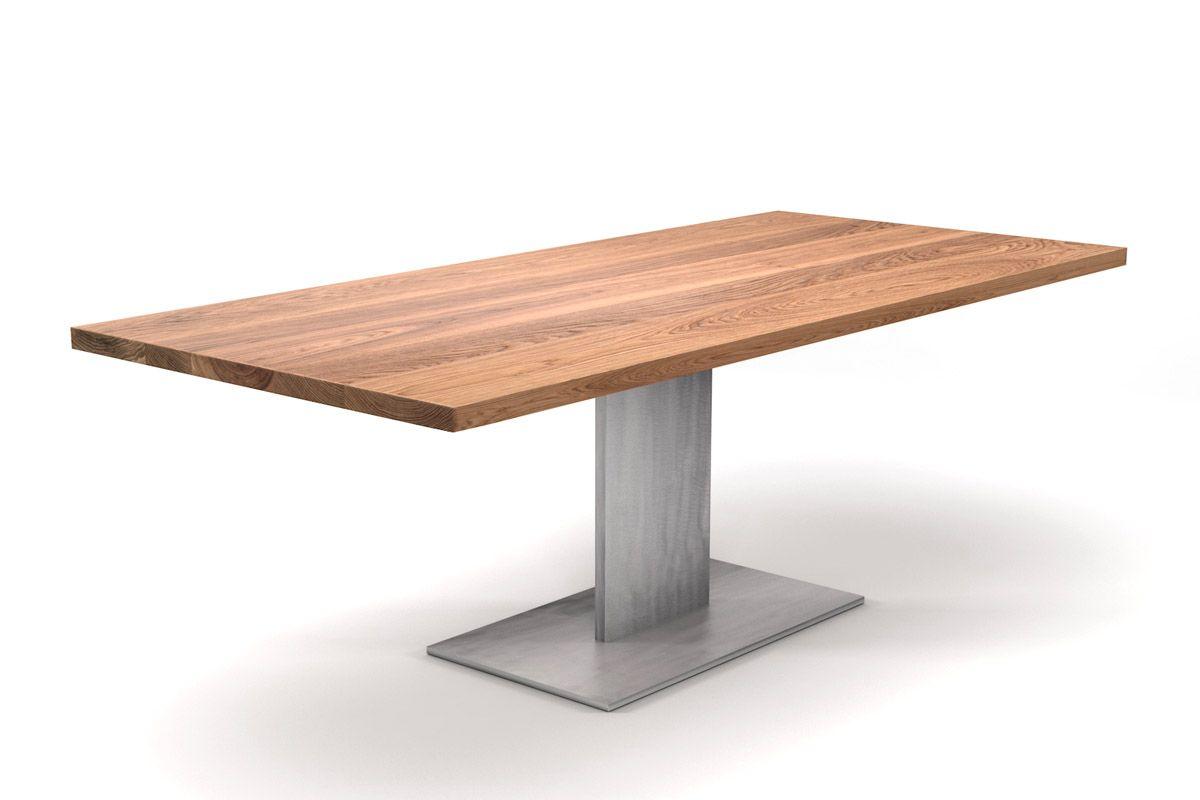 Eiche esstisch mit metallbein nach ma holzpiloten for Esstisch echtholz