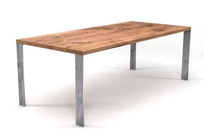 Esstisch Massivholz Eiche nach Maß mit Stahl Tischbeinen