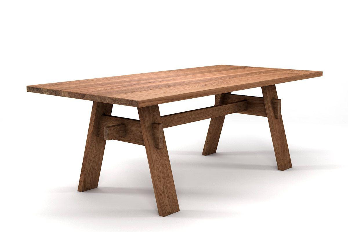 Vollholz Esstisch Eiche nach Maß mit Holz Untergestell