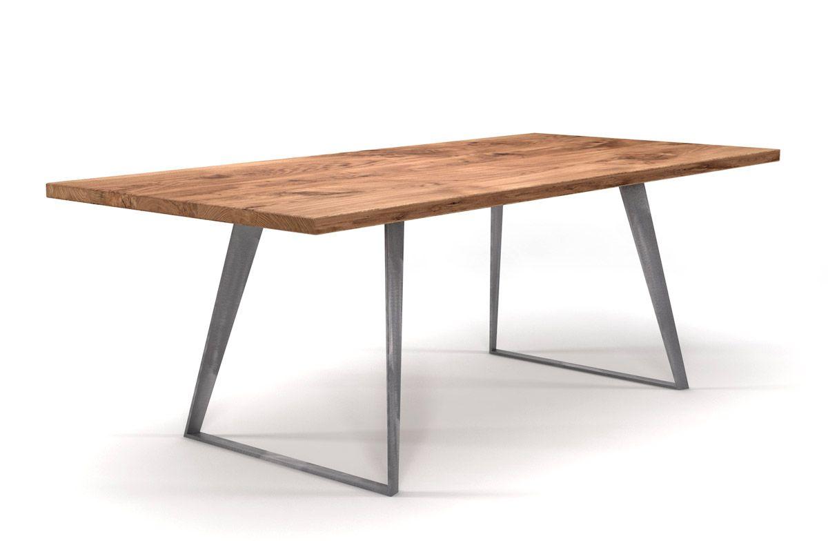 Moderner Esstisch Eiche nach Maß mit filigranen Stahlkufen