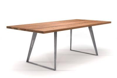 Design Esstisch Eiche nach Maß mit Stahlkufen Tischgestell