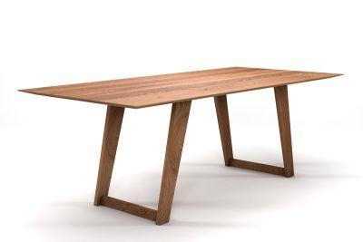 Vollholz Tisch aus Eiche nach Maß mit Facettenkante und Holz-Tischuntergestell