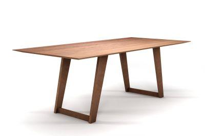 Buche Tisch mit Schweizer Kante und Tischkufen aus Holz
