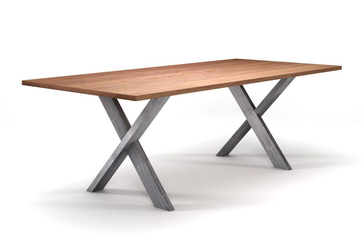 Design Esstisch Buche nach Maß mit Kreuz-Tischgestell Metall