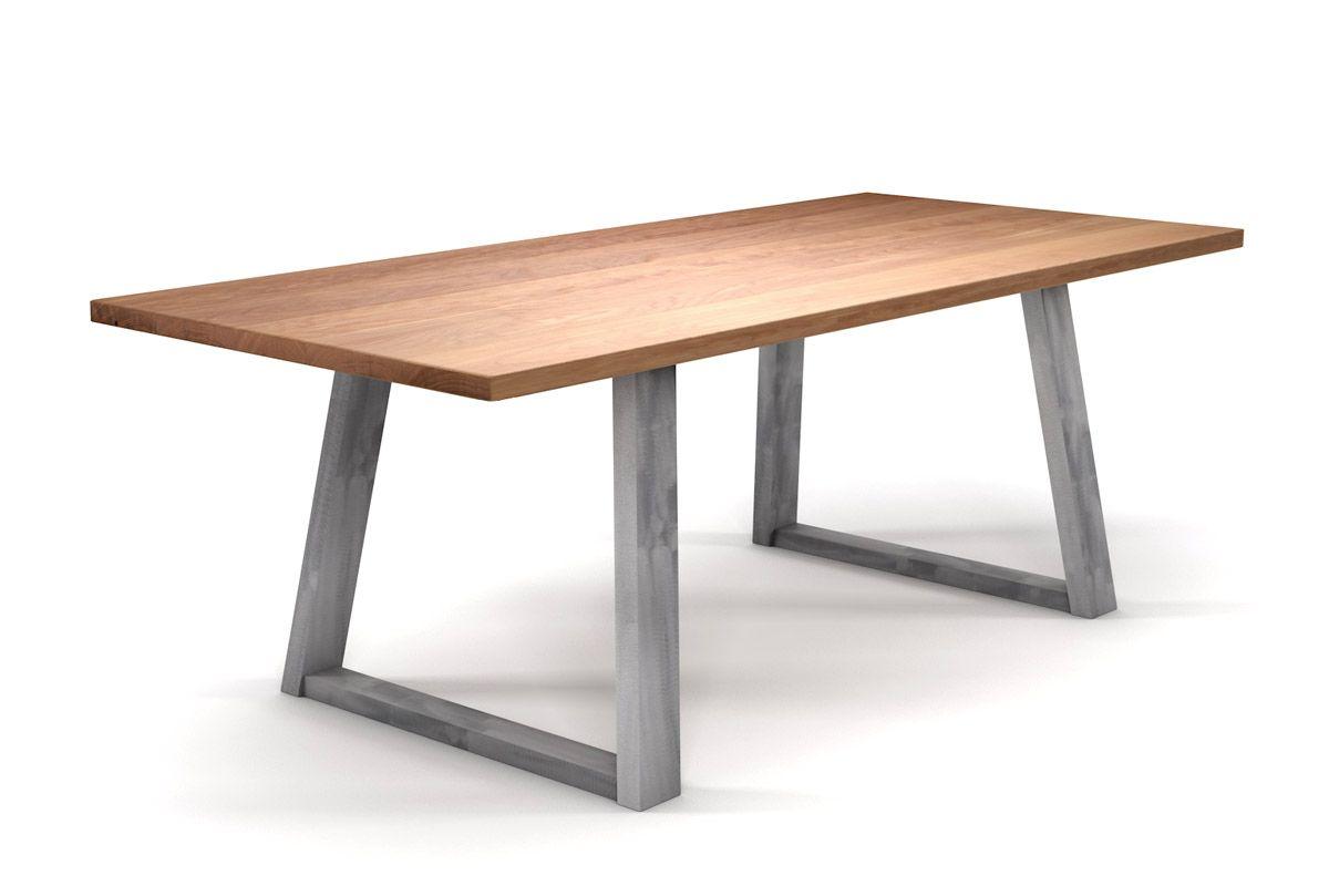 Esstisch massiv Buche nach Maß mit Stahlkufen Tischuntergestell schräg