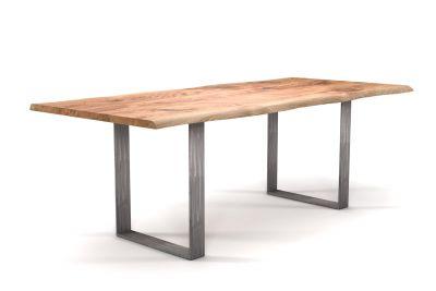 Esstisch Baumkante Eiche mit Stahl-Tischkufen