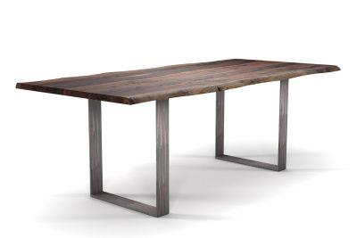 Baumstamm Tisch Nussbaum mit Stahlkufen nach Maß