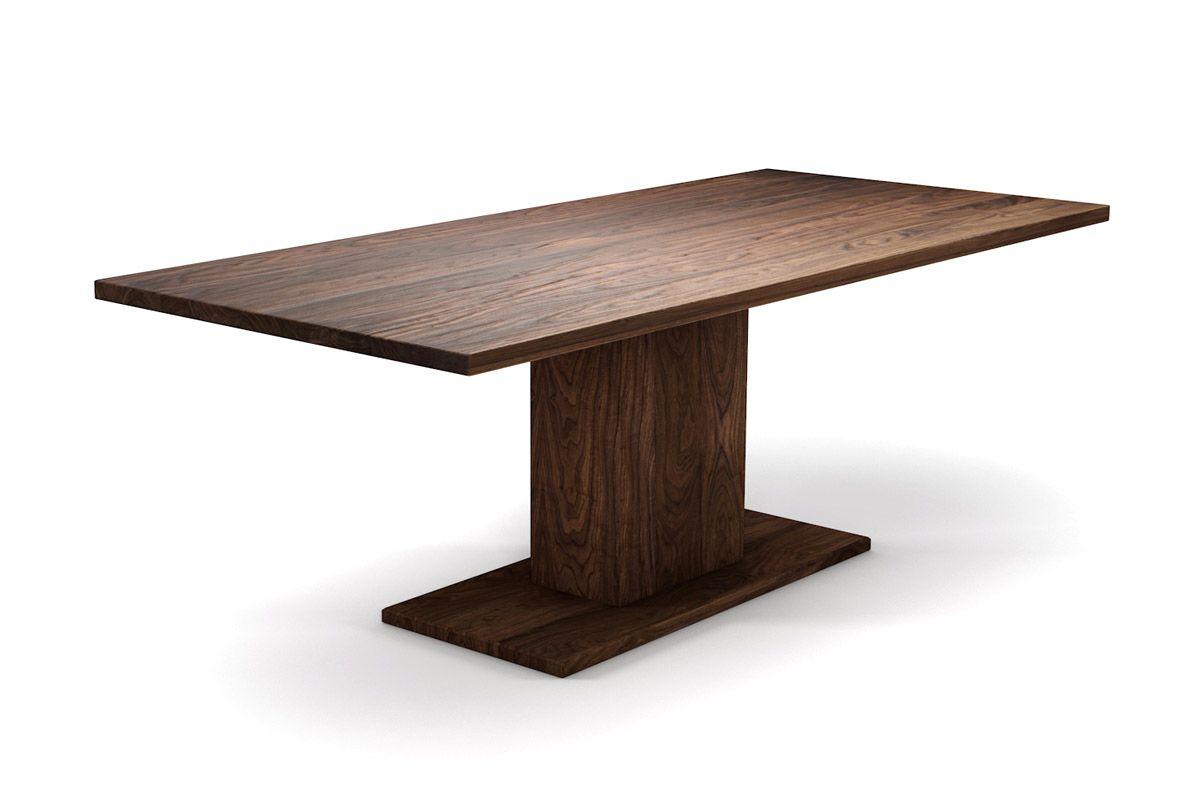 Holztisch amerikanischer Nussbaum nach Maß mit Mittelfuss Gestell