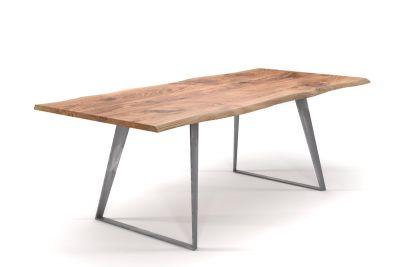 Baumkantentisch Eiche nach Maß mit Stahlkufen minimalistisch