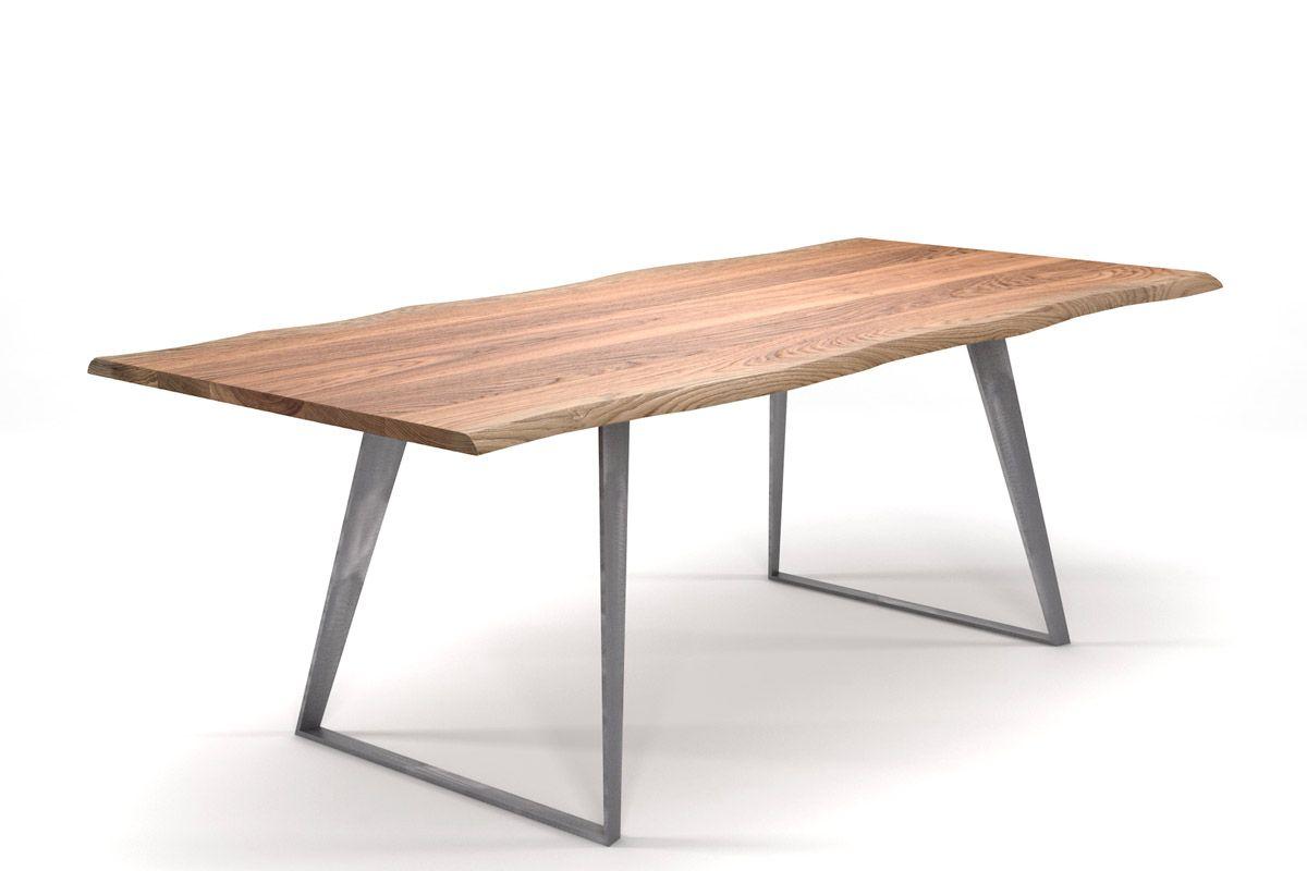 Design Esstisch mit Naturkante Eiche und Stahlkufengestell