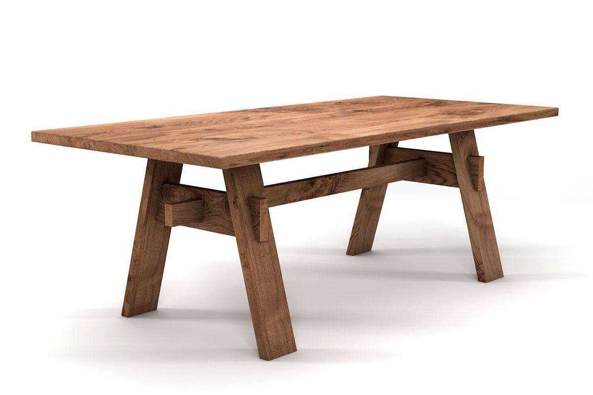 Holzesstisch aus Eiche mit Gestell selbsttragend aus Massivholz