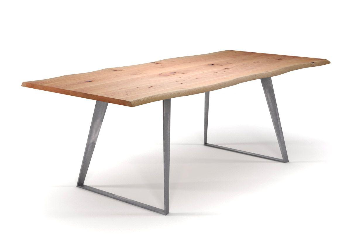 Tisch mit Baumkante Buche mit Stahlkufen filigran