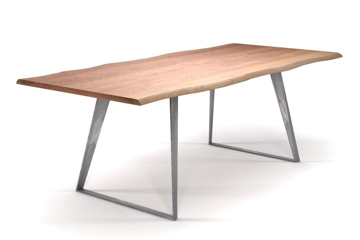 Baumkanten Esstisch Buche mit doppelt schrägen Stahlkufen