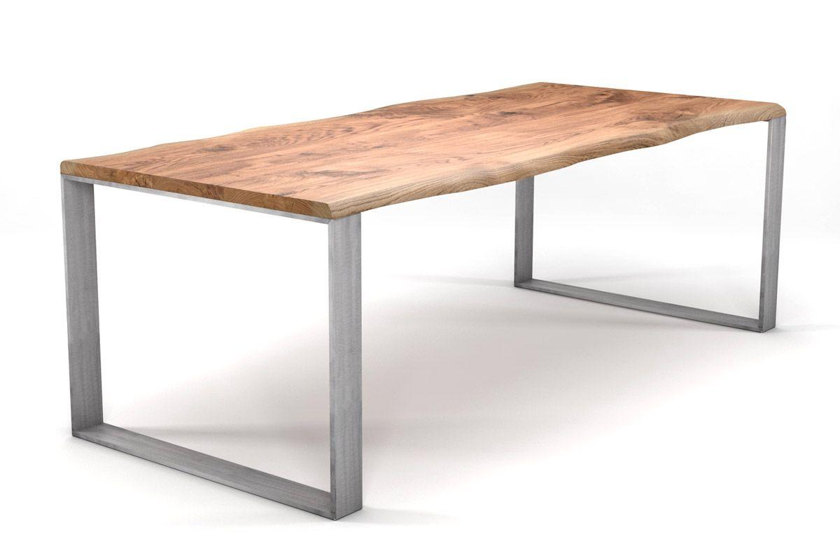 kufen esstisch mit baumkante eiche massiv nach ma holzpiloten. Black Bedroom Furniture Sets. Home Design Ideas