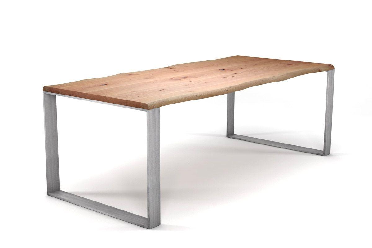 Buche esszimmertisch mit baumkante und kufengestell for Buche esszimmertisch