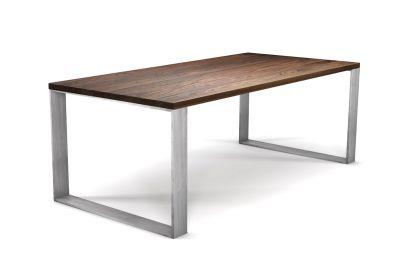 Nussbaum Tisch massiv nach Maß mit Stahl Tischkufen bündig