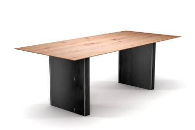 Tisch Buche nach Maß Schweizer Kante und Tischwangen Metall