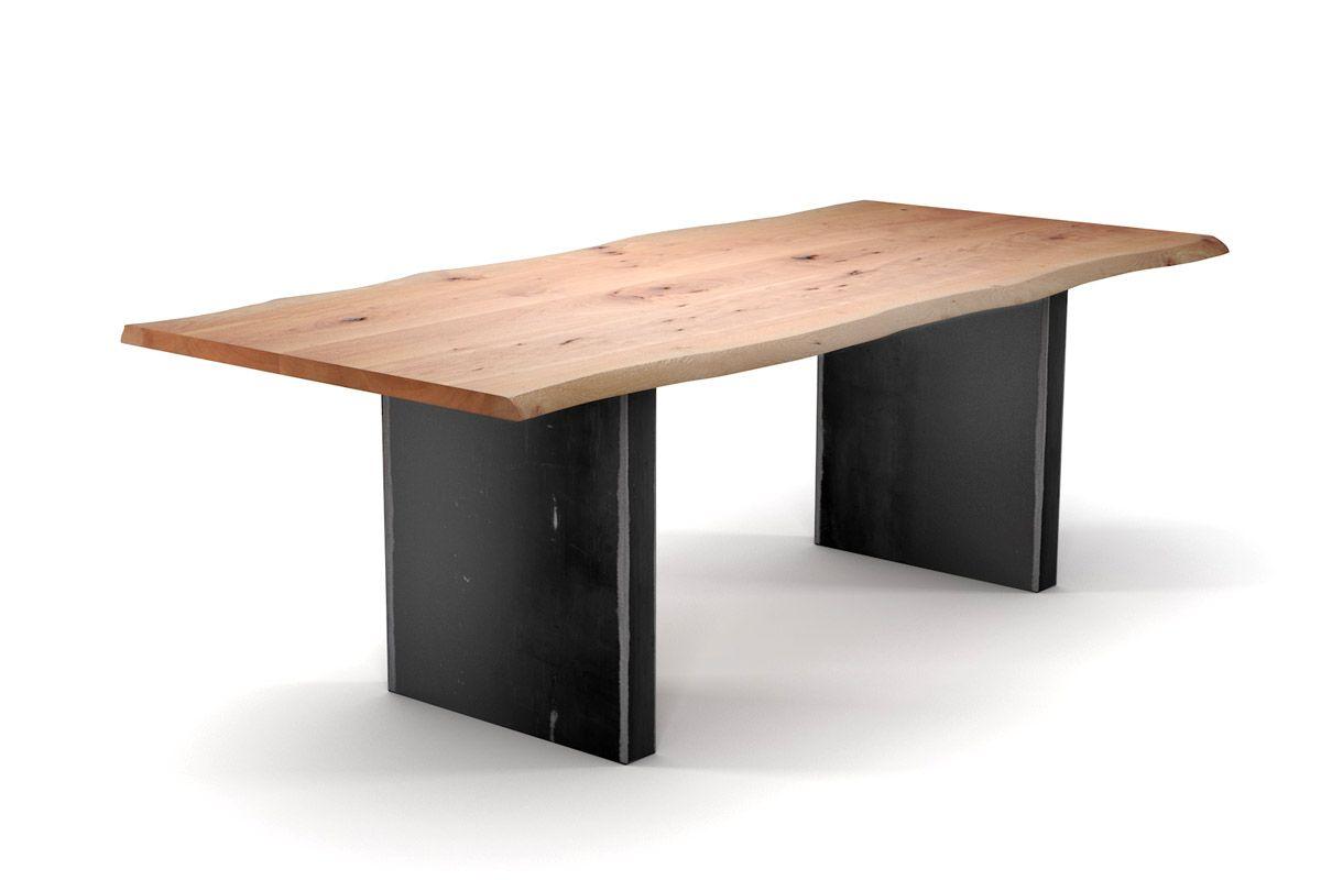 Massivholztisch mit Baumkanten Buche und Tischwangen aus Metall