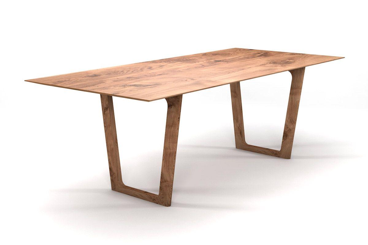 Esstisch Massivholz Eiche Facettenkante nach Maß mit Tischkufen aus Holz