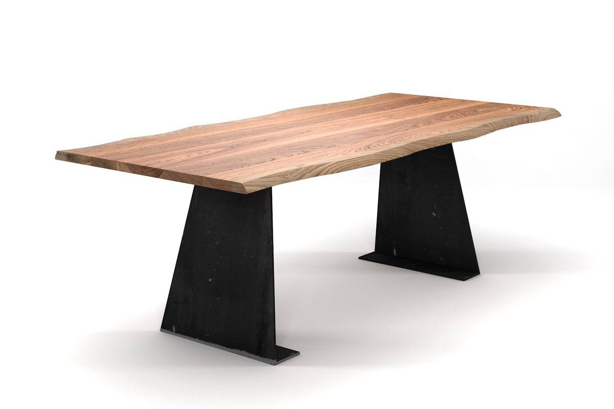 Esstisch Eiche Stahl mit Baumkante mit Metallwangen trapezförmig